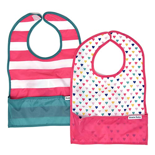 Nylon Travel Drool Bib, Folds Up for Easy Clean-up, Clips to Stroller or Diaper Bag, Waterproof and Catches All The Mess with Bottom Pocket, 2-Pack for Girls Sweetheart and Stripes by Bazzle Baby