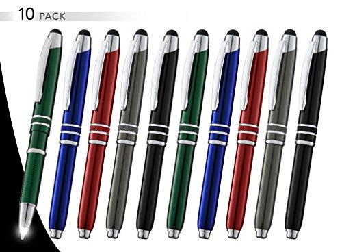 3-in-1 Multi-Function Metal Pen Stylus Capacitive Pen for Touchscreen Devices Tablets,iPads,iPhones,with LED Night Writer Dark Writing Flashlight,Ballpoint Pen (10 Pack,Red+Black+Blue+Green+Gunmetal) (Blackberry Vinyl Pocket)
