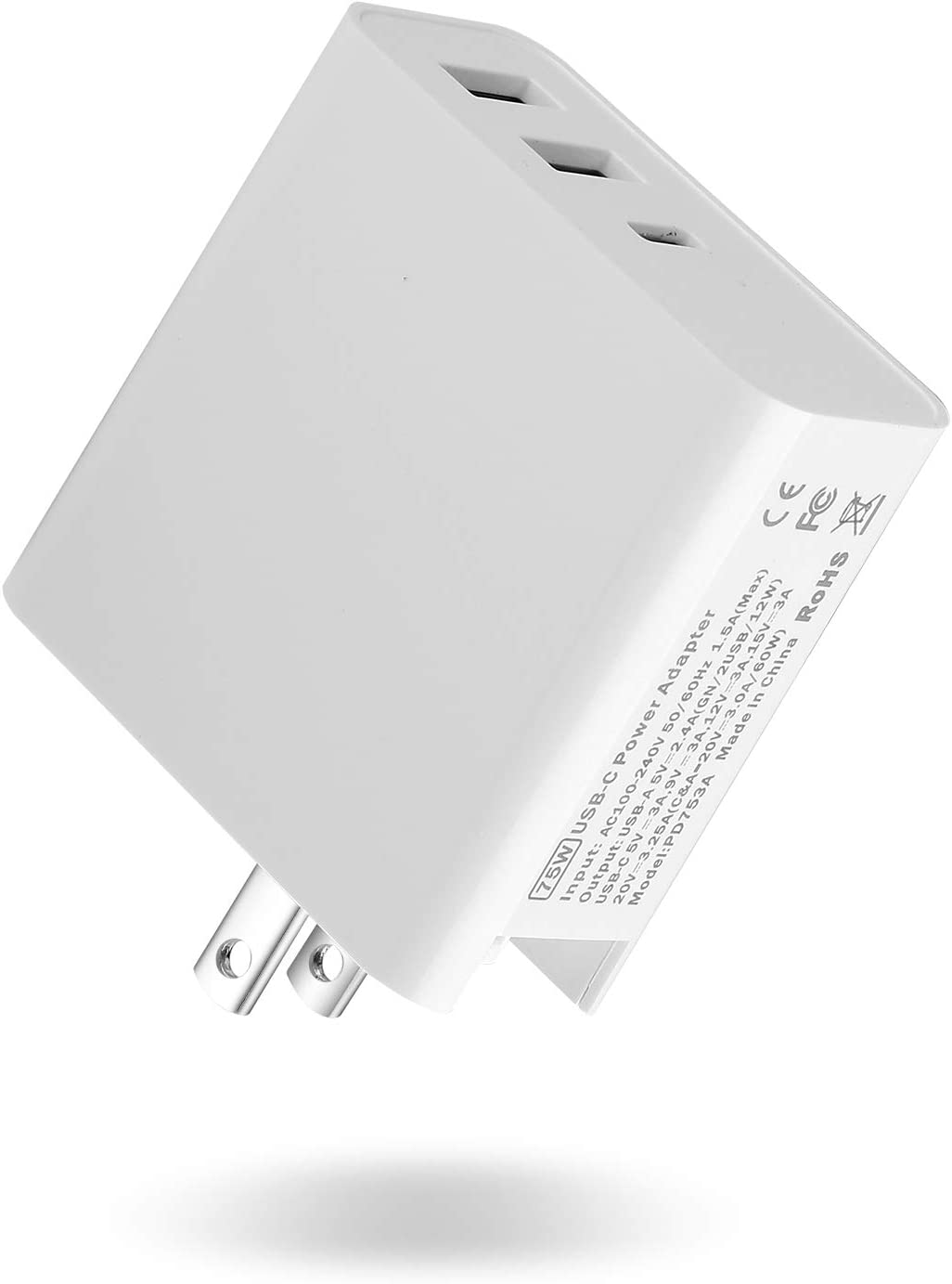 USB C Wall Charger 75W PD  jiubo  Desktop Travel Charger, 1 Type C Plus 2 USB, Foldable Plug for Ipad Pro,Compatible with Pro, iPad Pro, iPhone 11 / MacBook Air/Xs Max/XS/XR, Nintendo Switch and More
