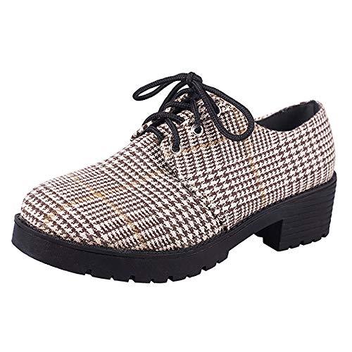 Sonnena Damen Elegant Schnürer Low-Top Schuhe Rund Toe Flach Boden Plateau Booties Niedrige Schlauchstiefel Casual Knöchel Schuhe Shoes Outdoor Rutschfest Boots 35-40 Bruwn