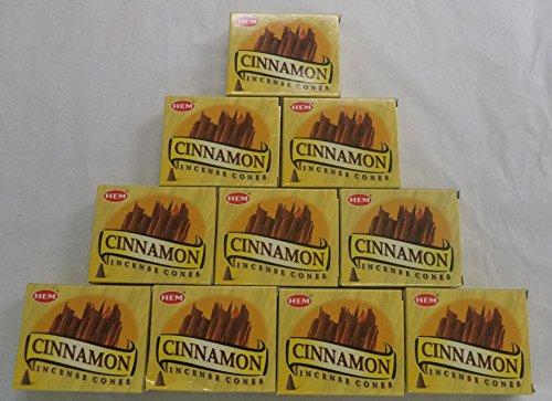 HEM Incense Cones: Cinnamon - 10 Packs of 10 = 100 Cones