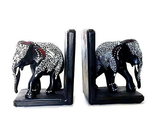 Bellaa Bookends Decorative Black Elephants ()