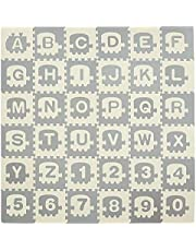 """Qaba Kids Foam Puzzle Floor Tiles Baby Toddler Educational Play Mat 36 Pcs 12.5"""" x 12.5"""" with Letters and Numbers Anti-Slip Crawling Learning 35SqFt EVA"""