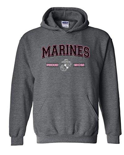 Blue Tees USMC Marines Proud Mom US Marine Corps People Fashion Clothing Mothers Day Gifts Unisex Hoodie Sweatshirt Large Dark Heather
