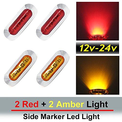 """4 pcs TMH 3.6"""" submersible 4 LED Red & Amber Side Led Marker ( 2 + 2 ) 10-30v DC , Dealings Trailer marker lights, Marker light amber, Rear side marker light, Boat Cab RV"""