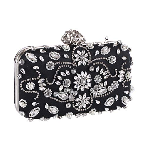Dinner C Beaded Evening Clutch Ladies Rhinestone Bag Black Evening Clutch Bag Handbags Own70q