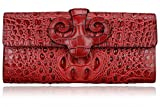 PIFUREN P226719 Designer Embossed Crocodile Leather Wallet Womens Clutch Purse Cross Body Handbags (red)