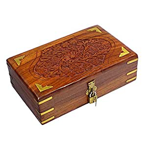 handmade decorative wooden jewelry box with