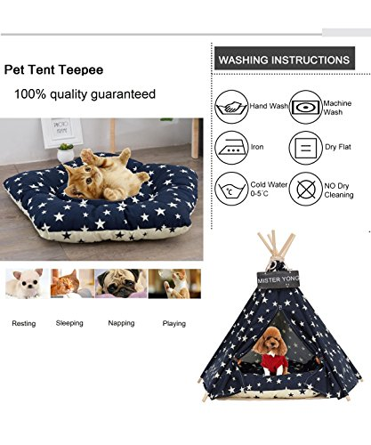 Yongs Pet Cat Dog Rabbit Teepee Cushion,Portable Puppy Small Animals Bed Tent (20 X 24 Inch) by Yongs (Image #7)