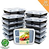 Enther [20 Pack] 3 Compartment Meal Prep Containers with Lids,Premium Food Storage Bento Boxes, BPA Free, Stackable,Reusable, Microwave/Dishwasher/Freezer Safe,Portion Control (36 oz)