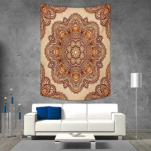 Needlepoint Brown Paisley (smallbeefly Ethnic Wall Hanging Tapestries Mehndi Style Floral Flower Abstract Paisley Backdrop Art Print Large tablecloths 54W x 84L INCH Pale Brown Dark Brown)