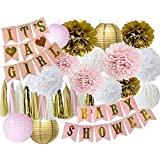 JusStella Baby Shower Decorations for Girl, (Pink White and Gold Party Decoration Kit) 32 Piece Party Decoration It's a Girl Baby Shower Banner, Tassel Garland, Paper Pom Poms Tissue Flowers