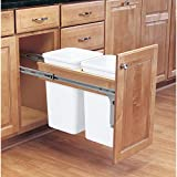 Rev-A-Shelf 4WCTM-15DM2 Double 27 Quart Pull Out Top Mount Kitchen Trash Container Bin Wastebasket for 1.5 Inch Face Frame Cabinets, White