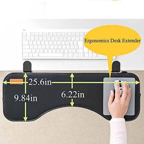 FUZADEL Ergonomics Desk Extender Under Desk Keyboard Tray & Mouse Pad, Adjustable Height & Angle Ergonomic Standing Computer Keyboard (Clamp Keyboard Trays)