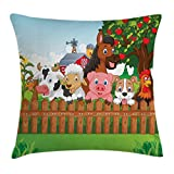 Ambesonne Cartoon Throw Pillow Cushion Cover, Collection of Cute Farm Animals on Fence Comic Mascots with Dog Cow Horse Kids Decor, Decorative Square Accent Pillow Case, 16 X 16 Inches, Multi
