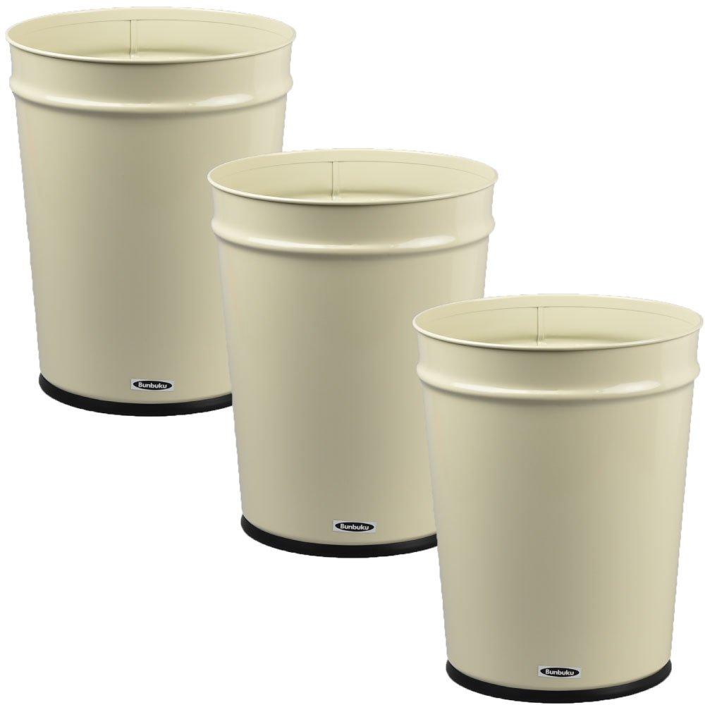 ぶんぶく テーパーバケット 大 全3色の中から選べる3個セット ゴミ箱 ごみ箱 ダストボックス おしゃれ 日本製 (アイボリー×アイボリー×アイボリー) B075G8WVMB アイボリー×アイボリー×アイボリー アイボリー×アイボリー×アイボリー