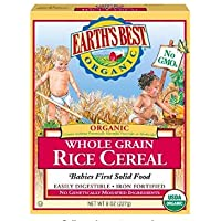 Earth's Best Organic Whole Grain Rice Cereal 8oz - Plus Fork and Spoon Set (Pack of 2)