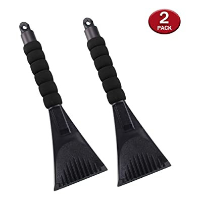 Ice Scraper for Car Windshield with Foam Handle 2 Pack Snow Scraper Heavy-Duty Frost and Snow Removal Tool for Window - No Scratch (2 Pack Black): Automotive