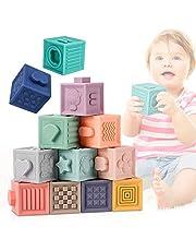 E-More babyspeelgoed 0-12 maanden stapelblokken voor baby's, 12 stuks 3D-sculptuur Zachte bouwblokken met 6 verschillende aanrakingen en vormen voor zintuiglijk speelgoed voor kleuters