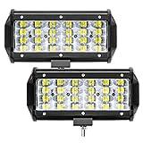 "Zmoon 7"" LED Light Bar 2PCS Off Road Lights 432W 43200lm Spot Flood Combo Beam Waterproof Led Work Light Bars for SUV/ATV/Jeep/Boat"