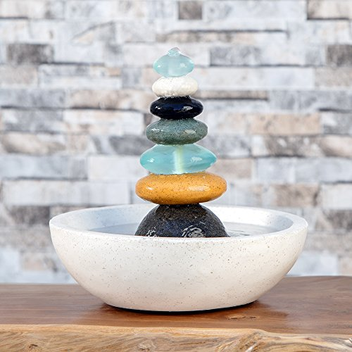 Garden Age Supply Natural Septuple Rock Cairn Water Fountain with Glass