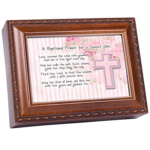 Cottage Garden Baptismal Prayer Lead Her Woodgrain Rope Trim Jewelry Music Box Plays Jesus Loves Me