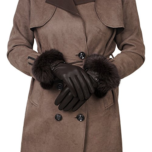 GSG Womens Luxury Italian Genuine Nappa Leather Gloves Fashion Fur Trim Full Palm Touchscreen Winter Warm Gloves Brown (Genuine Rabbit Fur Cuffs)