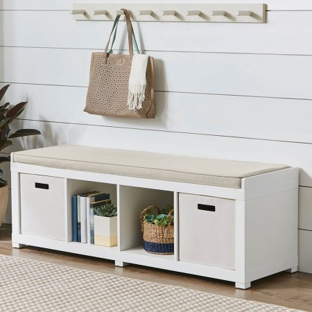 Better Homes and Gardens 4-Cube Storage Organizer Bench (White) - White Storage Bench