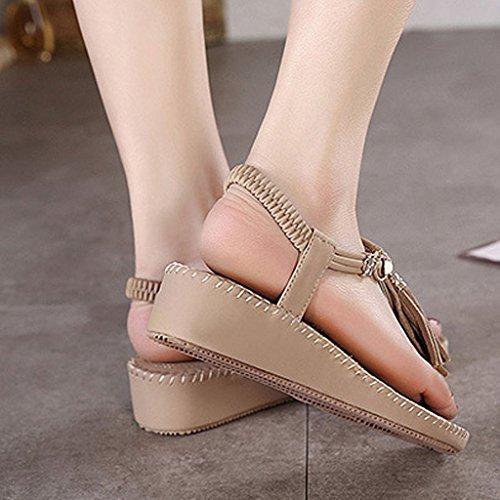 Minetom Damen Sommer Sandalen Koreanisch Stil Muffin Sandalen Mit Quaste Mode Neu Schuhe Khaki