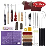 #5: Leather Craft Tools MIUSIE 34 PCS Leather Sewing Tools Needle Kit, Groover,Awl,Waxed Thread,Leather Skin, Wool Dauber,Basic Tools DIY Leather Craft