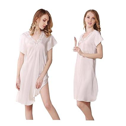 Mujeres 100% Pijamas de Seda Pura Vestido de Dormir Sling de Encaje de Manga Corta
