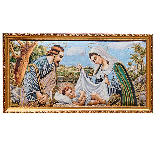 The Holy Family Nativity of Jesus Framed Tapestry Wall Decor Unique Art Bible Gold and Silver Thread Embroidery Shiny Stunning Gift Religious Spiritual Art Bedroom Living Room Catholic - Nativity Needlepoint
