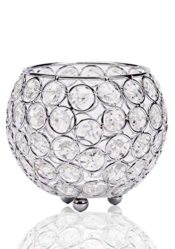 - Siver Round Crystal Candle Holder/Wedding Candlestick Spherical Candelabra for Home Decor Palace Candlelight Dinner Romantic Dining Room Coffee Table Decorative Centerpiece or Corner Piece Adornment