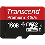 Transcend 16GB MicroSDHC Class 10 UHS-1 Memory Card with Adapter Up to 60MB/s (TS16GUSDU1PE)