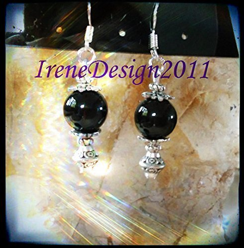 Silver Hooks Earrings with Black Onyx