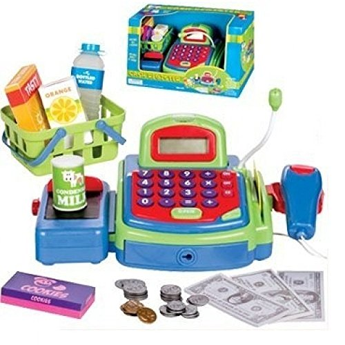 Cash Register, Multi-functional Educational Pretend Play, w/ Battery Operated Toy Money, Credit Card, Working Calculator and Microphone, Scanner, Groceries (Green) (Credit Register)