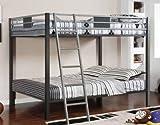 Full/Full Bunk Bed in Silver Gun Metal Finish by Furniture of America # CM-BK1013