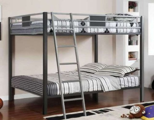 Full/Full Bunk Bed in Silver Gun Metal Finish by Furniture of America # CM-BK1013 For Sale