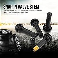 TR414 Rubber Tubeless Tire Valve Core Stems Cap 4pcs Car Tire Valve Stem Cap