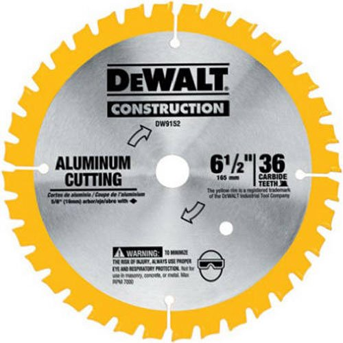 DEWALT DW9152 6-1/2-Inch 36 Tooth Aluminum Cutting Saw Blade with 5/8-Inch Arbor