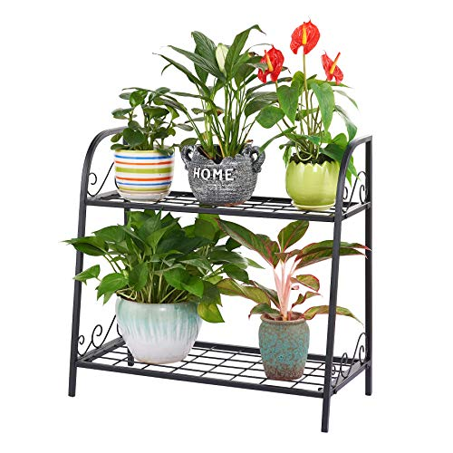FaithLand 2-Tier Indoor/Outdoor Metal Plant Stand, Flower Pots Holder, Plant Display Rack, Stand Shelf, Shoe Organizer, Utility Storage Organizer Rack