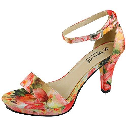 Lenaluisa Dsw 91 Floral Platform Heel  Red  10