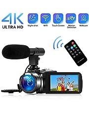 """4K Camcorder Videokamera WiFi Vlogging Kamera Camcorder mit Mikrofon Full HD 1080P 30FPS 3""""HD Touchscreen Digitale Kamera für YouTube mit IR-Nachtsicht und Fernbedienung"""