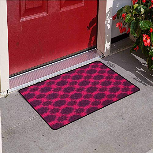 (GloriaJohnson Floral Welcome Door mat Baroque Gothic Rose Flower Circle Mandala with Psychedelic Tone Effects Door mat is odorless and Durable W31.5 x L47.2 Inch Hot Pink Dark Purple)