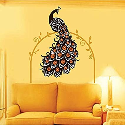 Decals design beautiful peacock on vine wall sticker pvc vinyl 90 cm