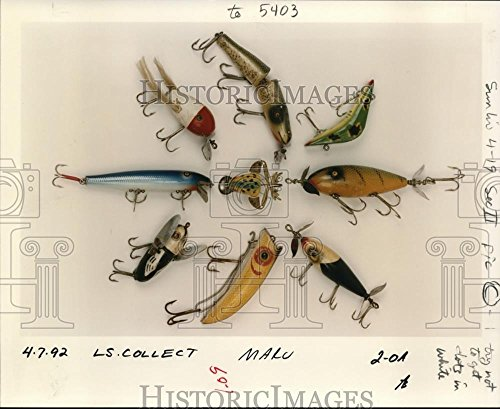 1992 Press Photo Colorfully painted surreal bugs in fishing lure display (Lure Display)