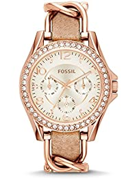 Women's ES3466 Riley Rose Gold-Tone Stainless Steel and Leather Watch with Crystal Accents
