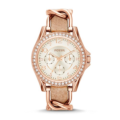 Fossil Women Riley Quartz Stainless Steel and Leather Multifunction Watch, Color: Rose Gold, Tan (Model: ES3466)