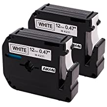 2 Pack Compatible Brother P-touch M231 MK231 M-k231 Label Tape 12mm (1/2 Inch) Width x 8m (26.2 Feet) Length, Black on White, Compatible with PT-65 PT-90 PT70BM PT-70SR P-Touch Labeler
