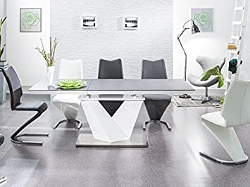 Esszimmertisch Alaras Ii Säulentisch 90x220 Schwarz Weiß